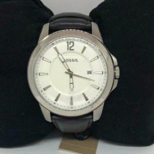 Fossil Men's Analog Leather White Dial Watch Bb940